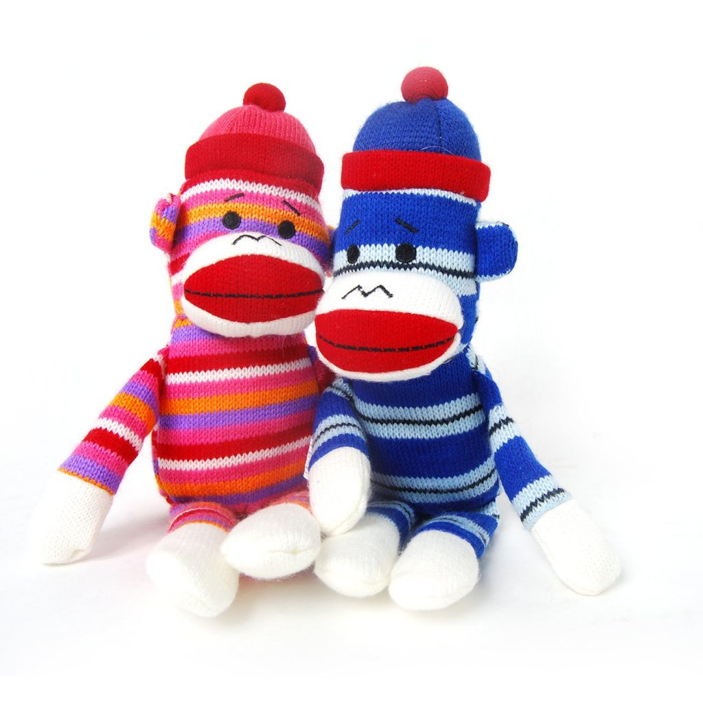 metropolis striped sock monkeys - dog toys