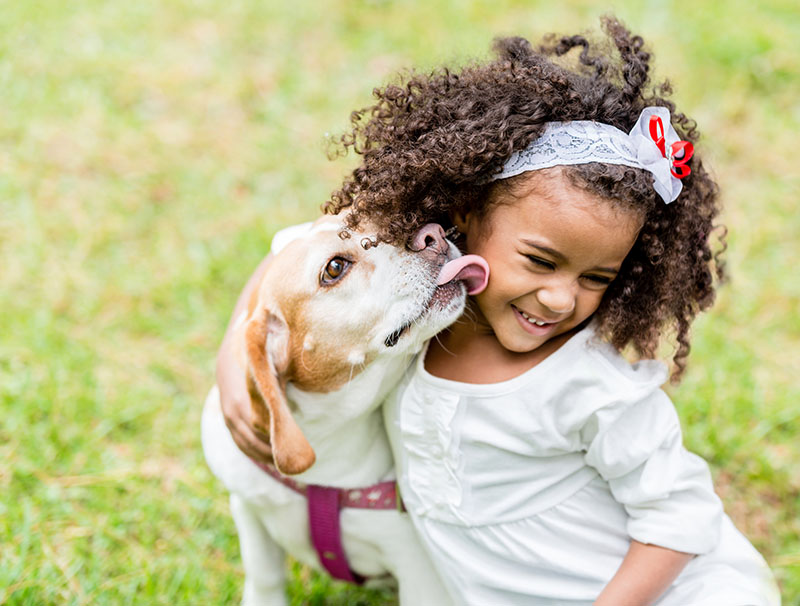 adopted dog licking young girl's face in yard