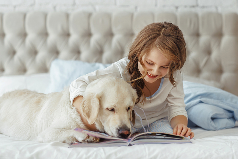 girl reading to dog on bed